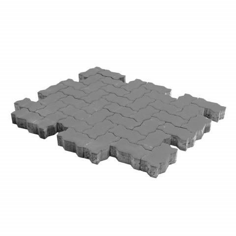 Плитка тротуарная BRAER Волна, Серый, h=60 мм