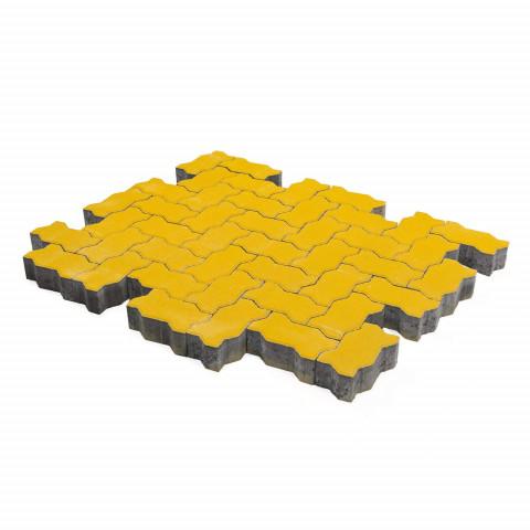 Плитка тротуарная BRAER Волна, Желтый, h=60 мм