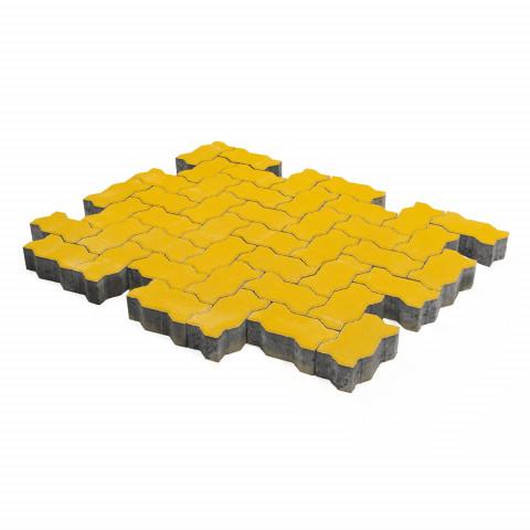 Плитка тротуарная BRAER Волна, Желтый, h=80 мм