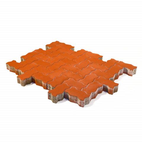 Плитка тротуарная BRAER Волна, Красный, h=80 мм